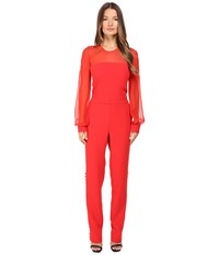 Prabal Gurung Long Sleeve Crew Neck Jumpsuit W Chiffon Combo Cherry Women's Jumpsuit And Rompers One Piece Red