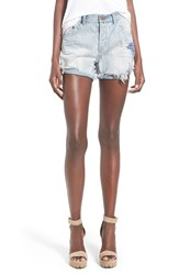 Women's One Teaspoon 'Chargers' Destroyed Denim Shorts Blue Powder