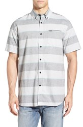 Rip Curl Men's 'Back Burner' Stripe Short Sleeve Woven Shirt Black