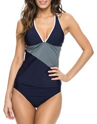 Nautica H2o Block And Tackle Tankini Top Navy Blue
