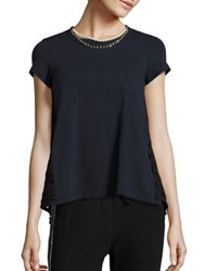 Sacai Faux Pearl Necklace And Knit Lace Back Pocket Tee Navy Black