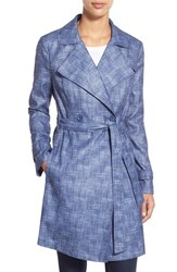 Women's Kenneth Cole New York Faux Linen Long Trench Coat