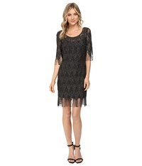 Jessica Simpson Metallic Frindge Dress Black Women's Dress