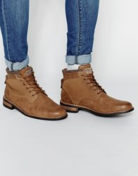 Pull And Bear Pullandbear Worker Boots In Burnished Leather Brown