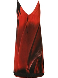Osklen Feather Print Dress Red