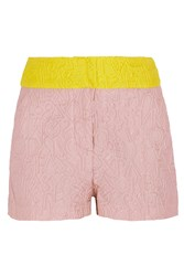 Mary Katrantzou Color Block Brocade Shorts Pink