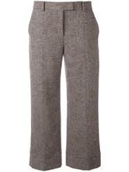 Agnona Tweed Wide Leg Cropped Trousers Brown