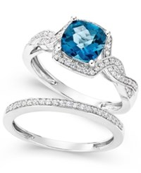Macy's London Blue Topaz 1 9 10 Ct. T.W. And White Topaz 1 3 Ct. T.W. Ring Set In Sterling Silver
