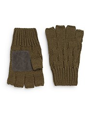 Rogue Suede Trim Fingerless Gloves Dark Olive