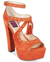 Mojo Moxy Creole Platform Tassled Dress Sandals Women's Shoes Rust