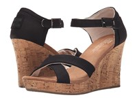 Toms Strappy Wedge Black Canvas Cork Women's Wedge Shoes