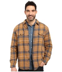 True Grit Summit Baja Plaid Shirt Jacket With Sherpa Lining Tobacco Men's Coat Brown