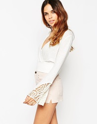 Asos Crop Top With Wrap Front And Flared Sleeve White