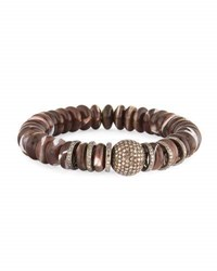 Sheryl Lowe 10Mm Brown Mother Of Pearl Bracelet With Diamonds