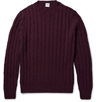 Aspesi Cable Knit Melange Wool Sweater Burgundy