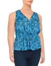 Bb Dakota Plus Patterned Peplum Blouse Blue