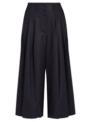 Sea High Rise Wide Leg Wool Trousers Navy