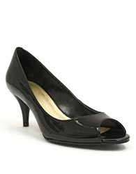 Tahari Marie Patent Leather Open Toe Pumps Black Patent