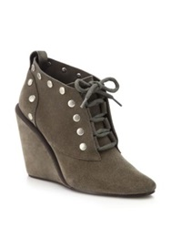 See By Chlo Janis Studded Leather Lace Up Booties Grey