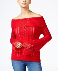 American Rag Off The Shoulder Pointelle Sweater Only At Macy's Chili Pepper