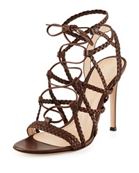 Gianvito Rossi Braided Leather Lace Up Sandal Medium Brown
