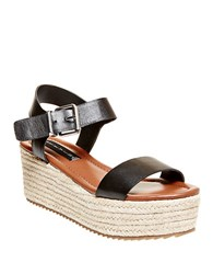 Steve Madden Sabbie Leather Espadrille Wedge Sandals Black