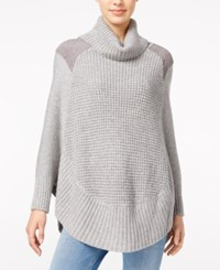 Maison Jules Faux Suede Detail Poncho Sweater Only At Macy's Grey