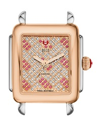 16Mm Deco Diamond And Pink Topaz Watch Head Two Tone Michele