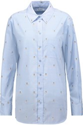 Equipment Kenton Embroidered Cotton Shirt Sky Blue