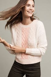 Anthropologie Marie Cabled Pullover Coral