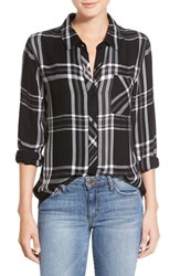 Women's Rails 'Hunter' Plaid Shirt Black White Gray
