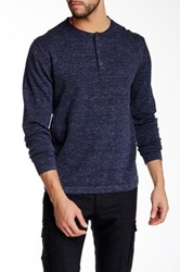 Weatherproof Denim Heather Henley Sweater Blue