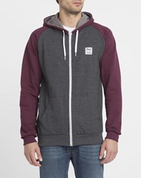 Iriedaily Charcoal And Burgundy Two Tone College Zipped Hood Sweatshirt Grey