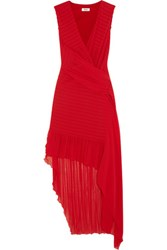 Issa Tia Asymmetric Smocked Crepe Dress Red