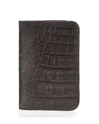 Santiago Gonzalez Crocodile Foldover Card Case Gray