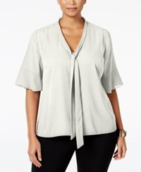 Ny Collection Plus Size Tie Neck Flutter Sleeve Blouse Ivory