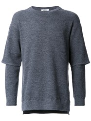 Monkey Time Layered Long Sleeved Pullover Grey