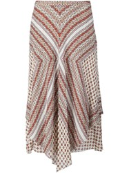 Derek Lam 10 Crosby Floral Print Draped Skirt White