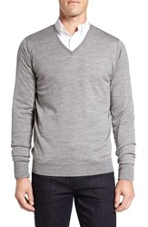 John Smedley Men's 'Bobby' Easy Fit V Neck Wool Sweater Silver