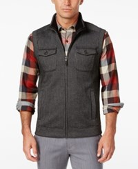 Tasso Elba Men's Big And Tall Sherpa Lined Collar Bonded Hunting Vest Only At Macy's Deep Black Combo