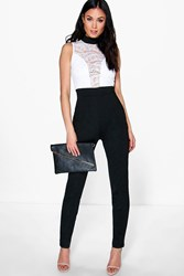 Boohoo Barely There Lace Skinny Leg Jumpsuit Black