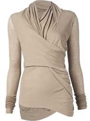 Rick Owens Lilies Wrap Long Sleeve Knitted Top Nude And Neutrals