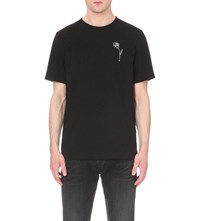 Rag And Bone Flower Embroidered Cotton Jersey T Shirt Black