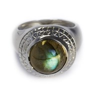 Puck Wanderlust Labradorite Power Ring Blue Green Silver