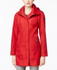 Calvin Klein Asymmetric Zip Hooded Walker Raincoat Red