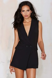 Nasty Gal Suit Up Tuxedo Romper Black
