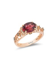 Le Vian Diamond And Rhodolite Chocolatier Ring 0.14Tcw Rose Gold