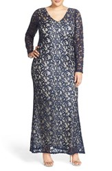 Plus Size Women's Marina Long Sleeve Sequin Lace Gown Navy Nude