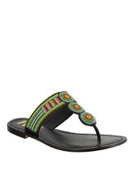 Mia Borneo Beaded Leather Thong Sandals Brown