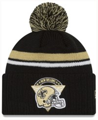 New Era Orleans Saints Diamond Stacker Knit Hat Black Gold White